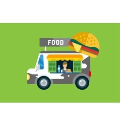 Fast food car icon meat grilled product hot dogs vector
