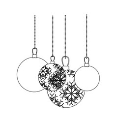 figure christmas balls hanging icon vector image