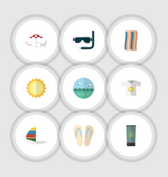 Flat icon beach set of surfing recliner wiper vector