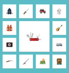 flat icons bag fishing music and other vector image
