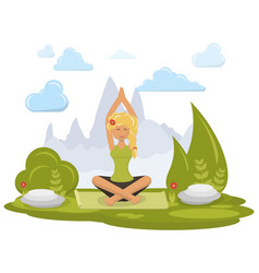 Girl doing yoga vector