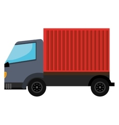 Gray truck with red container vector