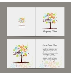 Greeting card with floral tree vector image