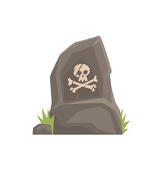 grey tombstone with skull and bones vector image