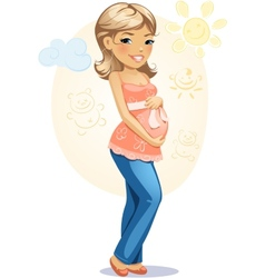Happy pregnant mom vector image vector image