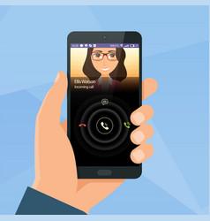 incoming call via mobile application on smartphone vector image vector image