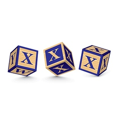 letter X wooden alphabet blocks vector image