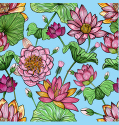 lotus floral seamless pattern hand drawn colorful vector image