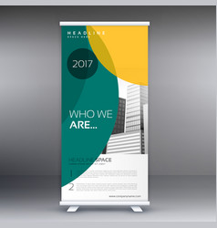 modern standee roll up banner design with green vector image