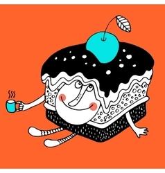 Nice comic cartoon character of cake vector
