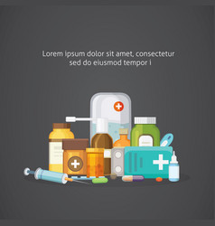 pharmacy concept with pills capsules vector image vector image
