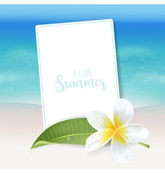 Realistic sea background tropical flower beach vector