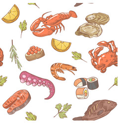 Sea food hand drawn seamless pattern background vector