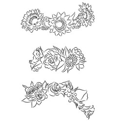 Set of black and white contour drawing of flower vector