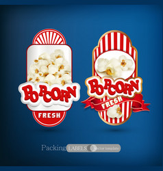 set of labels for popcorn vector image vector image