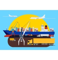 Shipping creative composition in harbour vector