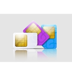 SIM cards for mobile phones Mobile and wireless vector image vector image