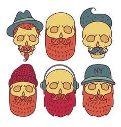 Skull hipster hand drawn vector