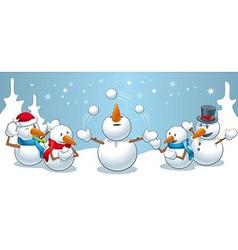 Snowman juggles vector