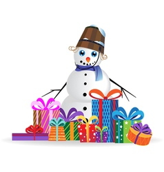 Snowman on a white background vector image vector image