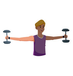 Sport boy barbell gym fitness design graphic vector