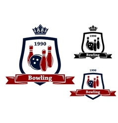 Three bowling badges or emblems vector image vector image