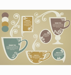 Vintage cups and tags vector