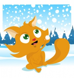 winter cat vector image vector image