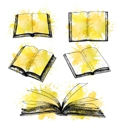 Hand drawn set of books vector image