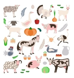 Set farm animals and vegetables icon vector