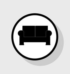 Sofa sign   flat black icon in vector