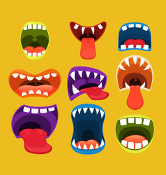 Monster mouths funny facial expression vector