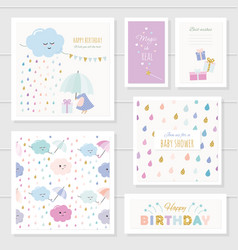 Cute cards with gold glitter elements for girls vector