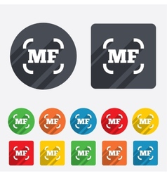 Manual focus photo camera sign icon mf settings vector
