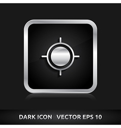 Gps navigation icon silver metal vector