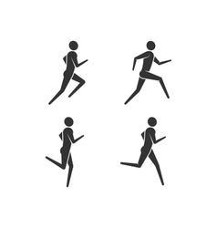 Running or jogging men icons vector