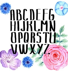 Watercolor alphabet with flowers in vintage style vector
