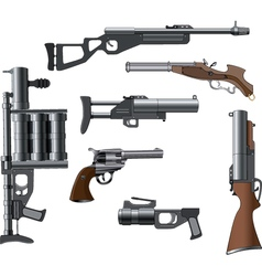 A military weapon set for a computer game vector