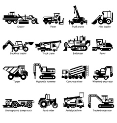 Construction machines black white icons set vector