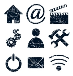 Home internet icons set grunge vector
