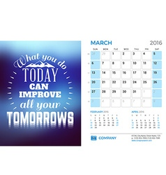 Desk calendar for 2016 year march stationery vector