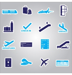 Airport stickers set eps10 vector