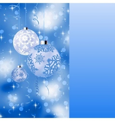Blue card with christmas balls EPS 8 vector image