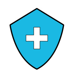 blue medical shield cartoon vector image