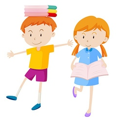 Boy and girl with books vector image