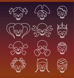 Cute linear skulls icons collection vector