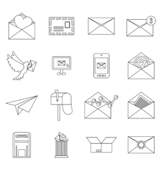 Email icons set outline ctyle vector image vector image