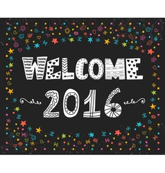 Happy new year welcome 2016 cute greeting card vector