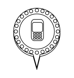 Monochrome silhouette of cell phone in circular vector