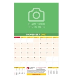 November 2017 wall monthly calendar for 2017 year vector